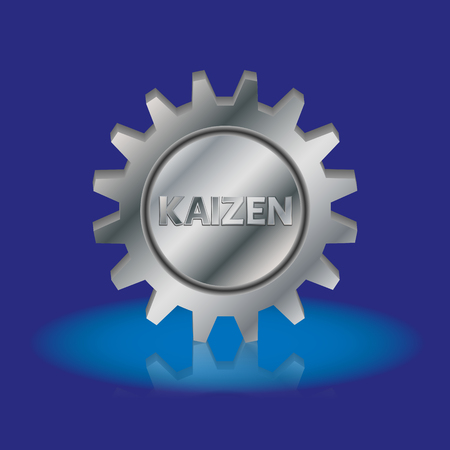 kaizen: Kaizen text in a silver metal gear wheel. Kaizen is Japanese method of business, that improves process management and production.