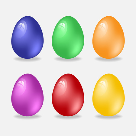 light reflection: Colorful Easter eggs. Six eggs with the effect of light reflection.