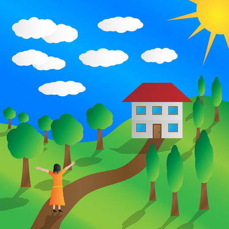 Woman enjoying the new house. Drawing of a woman and a new home in the countryside. Illustration