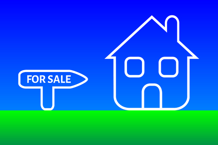 immovable: Conceptual illustration related with the sale of home. New white house and for sale text.