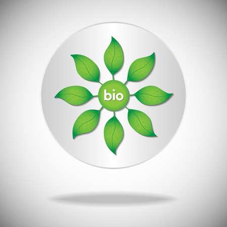 degradation: Green leaves on a tree with bio text on a white circle background. Illustration
