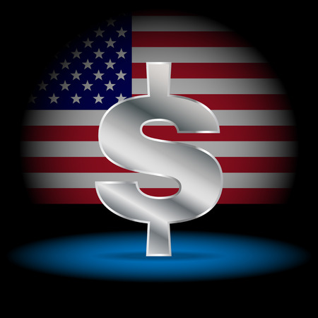 dollars: Symbol currency dollar. Dollar sign with United States America flag in the background.