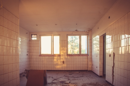 abandoned room: Old ruined building. Destroyed room in an old abandoned house. Stock Photo