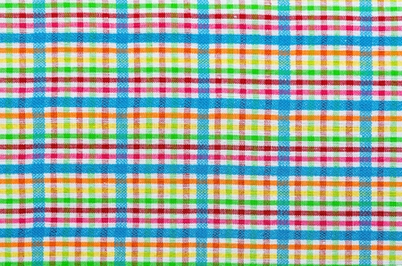 grille: Texture material rag. Colorful fabric background checkered. Stock Photo