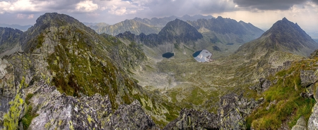 Panorama. Summer mountain landscape. View on High Tatra Mountains in Slovakia.