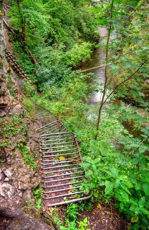 slovak: Metal ladder hiking trail in Slovak Paradise, Slovakia.