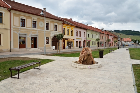 tenement buildings: SPISSKE PODHRADIE, SLOVAKIA - AUGUST 18, 2015: Old houses and shops in the center Spisske Podhradie Twon, Slovakia. Editorial