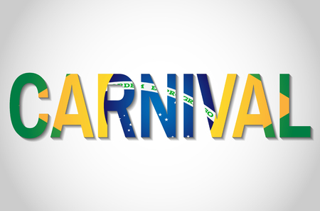 Text carnival with brazilian flag in the middle in vector illustration.