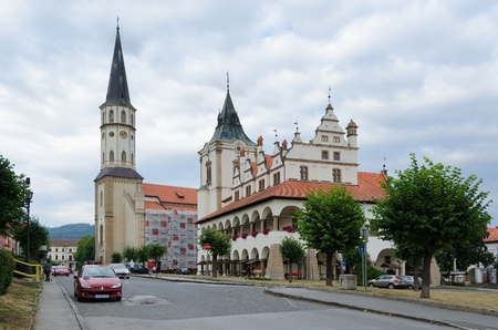 st jamess: LEVOCA, SLOVAKIA - AUGUST 18, 2015: St Jamess Church and Town Hall in Levoca, Slovakia.