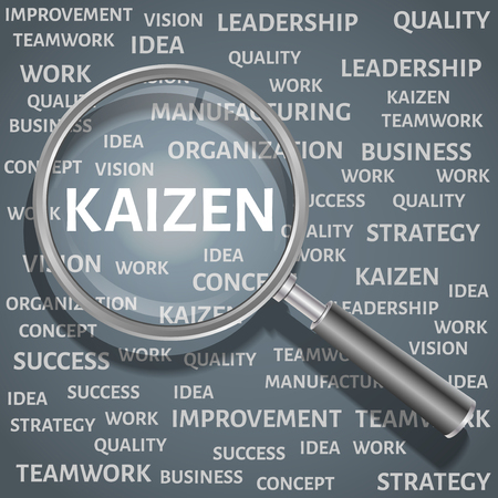 kaizen: Concept related to Kaizen Japanese method of business. The enlarged magnifying glass word kaizen with other words related business in the background.