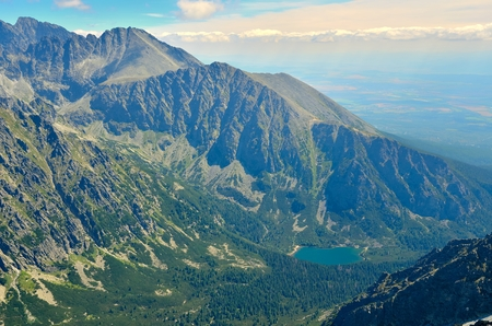 Summer mountain landscape. View of the lake in the valley in High Tatra, Slovakia.