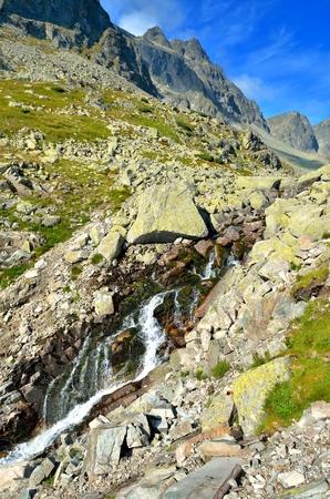 Summer mountain landscape. Mountain waterfall in High Tatra, Slovakia.