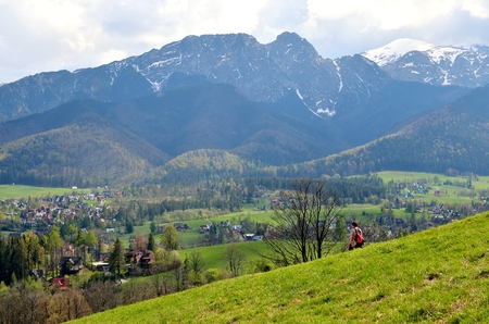 giewont: Spring mountain landscape. View on the village and mountains. Stock Photo