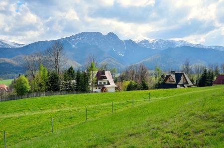 giewont: Rural mountain landscape. Giewont Peak in Polish Tatra Mountains.
