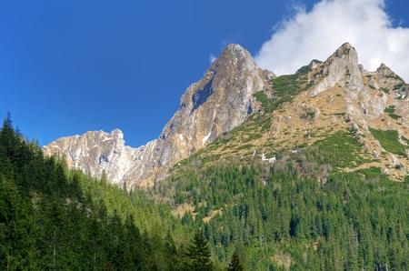 giewont: Spring mountain landscape. Mountain peaks in Western Tatra, Poland.