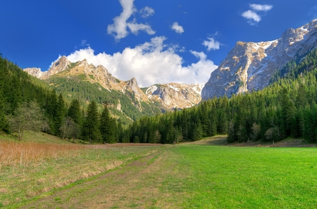 giewont: Spring mountain ladnscape. Beautiful valley and mountain peaks in Western Tatra, Poland.