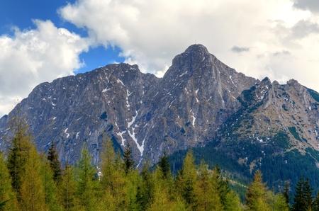 giewont: Spring mountain landscape. Giewont - very popular peak in Polish Tatra Mountains. Stock Photo