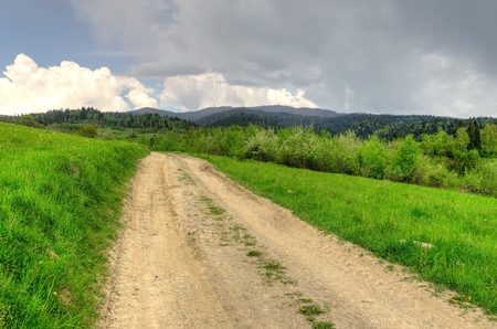 forested: Spring mountain landscape. Mountain trail and forested hills.