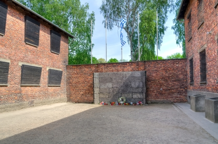 concentration camp: OSWIECIM, POLAND - MAY 12, 2016: Death Wall in concentration camp Auschwitz-Birkenau in Oswiecim, Poland.