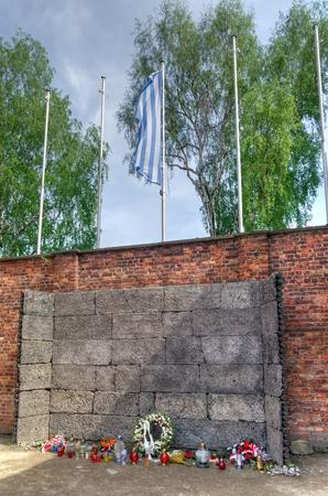 oswiecim: OSWIECIM, POLAND - MAY 12, 2016: Death Wall in concentration camp Auschwitz-Birkenau in Oswiecim, Poland.