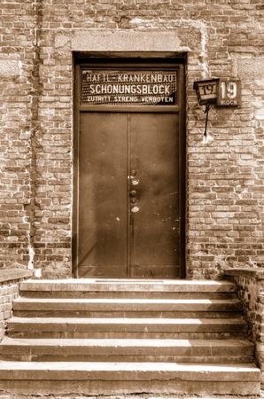oswiecim: OSWIECIM, POLAND - MAY 12, 2016: Door block in concentration camp Auschwitz-Birkenau in Oswiecim, Poland.