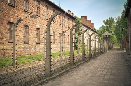 concentration camp: OSWIECIM, POLAND - MAY 12, 2016: Masonry block and fence with barbed wire in concentration camp Auschwitz-Birkenau in Oswiecim, Poland.