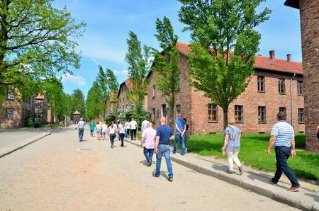 concentration camp: OSWIECIM, POLAND - MAY 12, 2016: Masonry blocks in concentration camp Auschwitz-Birkenau in Oswiecim, Poland. Editorial