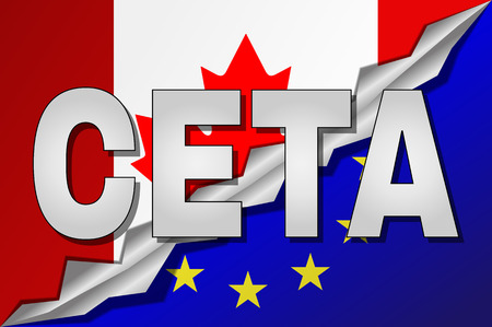 trade union: CETA - comprehensive economic and trade agreement between Canada and the European Union. Canada and European Union flags in CETA text with shadow.