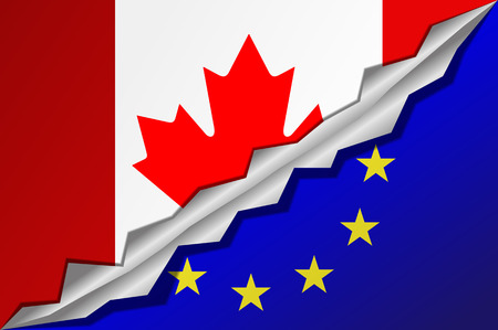 trade union: Mixed flags Canada and European Union. CETA - comprehensive economic and trade agreement between Canada and the European Union.