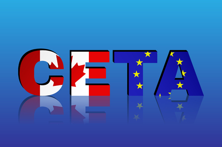 comprehensive: CETA - comprehensive economic and trade agreement between Canada and the European Union. Canada and European Union flags in CETA text with shadow.