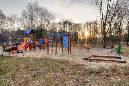 Playground for children. Childrens playground in a city park. Zdjęcie Seryjne