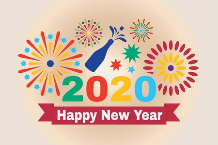 Picture for the New Year. Inscription Happy New Year 2020 and fireworks in vector illustration. 向量圖像