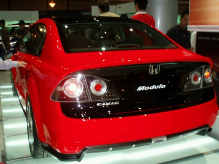the latest models: KUALA LUMPUR MALAYSIA - MAY 31 Honda Civic Modulo displayed at Motorshow on May 31 2009  Stock Photo