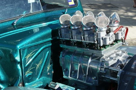 manifold: Closeup view of a highly modified performance care engine. Stock Photo