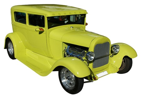modified: A lime colored street car modified as a hotrod
