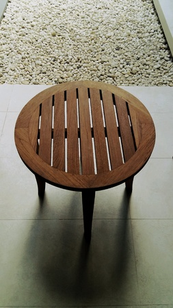 on the table: Wood table