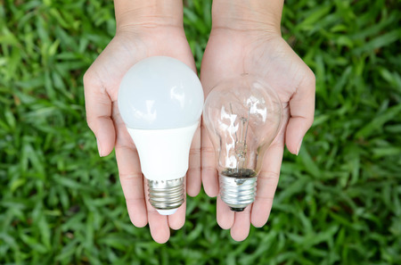 LED and Incandescent bulbs - Choice of energy Stock Photo