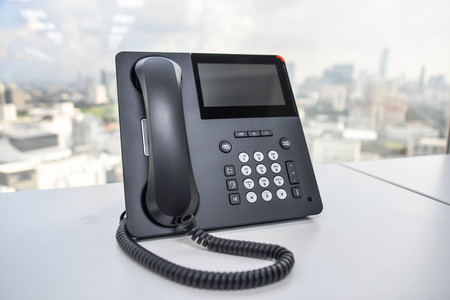IP Phone - Technology of Communication Stock Photo
