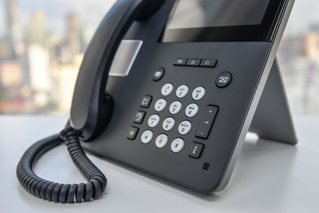 ip: IP Phone - Technology of Communication Stock Photo