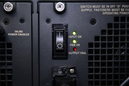 power switch: Power switch of server Stock Photo
