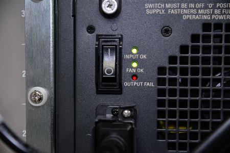 switch: Power switch of server Stock Photo