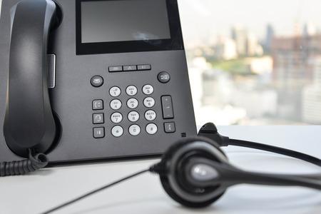 IP 電話のヘッドセット 写真素材