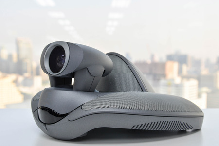 mobile voip: Video Conference Device Stock Photo