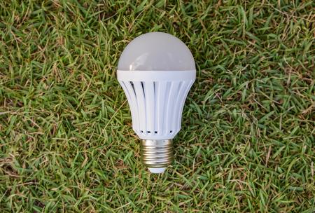 led bulb: LED Bulb - on the green grass Stock Photo