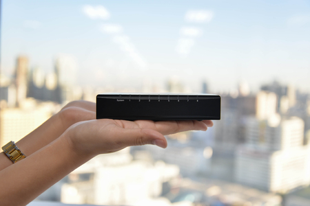 tcp: 8 ports of small network switch Stock Photo