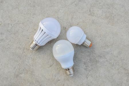 tungsten: LED Bulbs on the white concrete Stock Photo