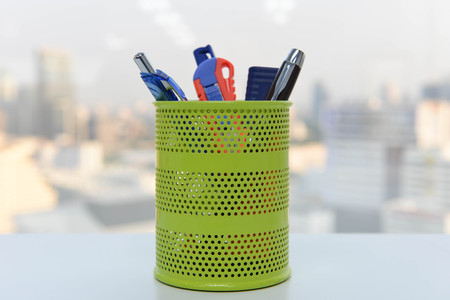 pencil holder: Pencil cup holder Stock Photo