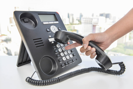 Press the telephone button panel to Dial-up Stock Photo