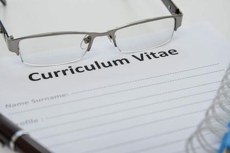 curriculum: Draft of Curriculum Vitae Stock Photo