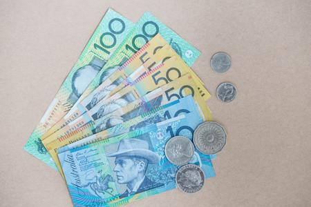 australian money: Australian money on the brown background Stock Photo